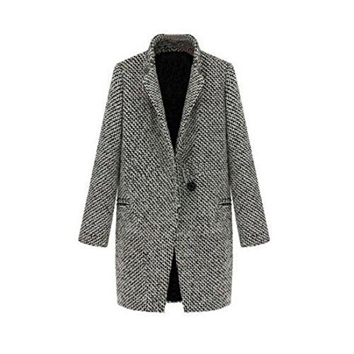 Veste en laine pour femme Long Trench pied-de-poule - Gris - 42