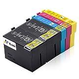 K-Tinte kompatible Tintenpatronen für Epson Epson 27XL T2711 T2712 T2713 T2714 (5er Packung - 2 Black, 1 Cyan, 1 Magenta, 1 Gelb)