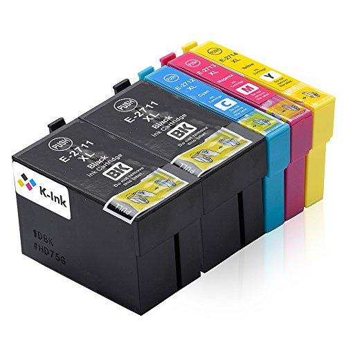 K-Tinte kompatible Tintenpatronen für Epson Epson 27XL T2711 T2712 T2713 T2714 (5er Packung - 2 Black, 1 Cyan, 1 Magenta, 1 Gelb) Epson Tinte Wf-3640