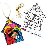 Baker Ross Fenster Dekoration Krippenszene Motiven zum Ausmalen und Dekorieren für Kinder (4 Stück)