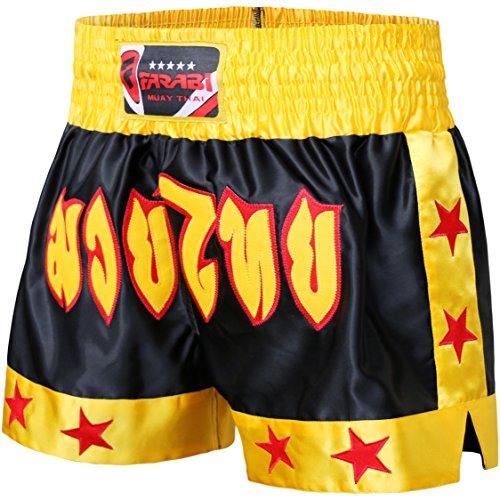 Farabi Combat Shorts zum Boxen, für MMA, Muay Thai, Kampfsport, Gymnastik, Training, BJJ, kurze Satin-Hose, Schwarz / Rot / Blau, für Cage Fighting, Grappling, Sparring, Kickboxen (Kampf Schwarz Shorts)