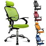 FEMOR Schreibtischstuhl Drehstuhl Bürostuhl Chefsessel sitzkomfort Bürodrehstuhl Binklusive Armlehnen Bandscheiben ergonomisches - bis 130KG - Höhenverstellung - Farbwahl (Grün)