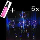 JZK 5 x Transparent 40 cm Helium Ballons LED Luftballons mit 70cm Stange + 3 Meter Silberdraht + Ballonpumpe Dekoration für Party, Weihnachten, Geburtstag, Hochzeit, Festival