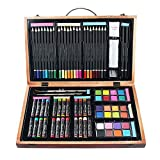 Aissimio Wooden Art Set - (80 Piece) Deluxe Art Creativity Set and Professional Art Set Box for Colouring Beginners, Academy Wooden Box Art Kit Great Gift For Artists, Adults Teens, and Children