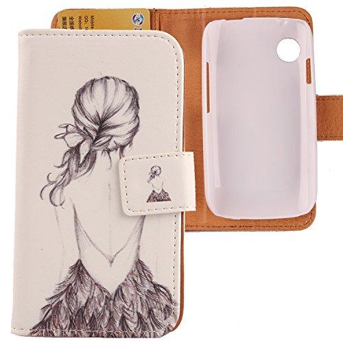Lankashi PU Flip Leder Tasche Hülle Case Cover Schutz Handy Etui Skin Für Wiko Ozzy Back Girl Design