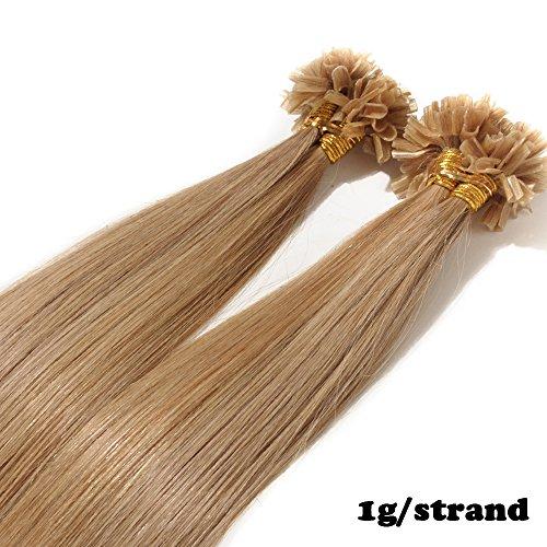 Extension cheratina capelli veri 1 grammo per ciocca 50g/pack u tip remy hair umani naturali lisci (40cm #27 biondo scuro)