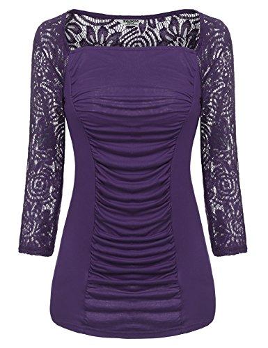 Zeagoo Damen U-Ausschnitt 3/4 Arm T-Shirt Floral Spitzenshirt Stretch Shirt Obertaile Top Tunika mit Rüschen (EU 40/L, (FBA) Lila)