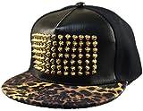 Belsen Herren Leder Rivet Hip-Hop Cap Baseball Kappe Trucker Hat (Leopard)