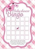 Baby Dusche, Bingo Spiel Karten, Rosa kariert Design, werdende Mama