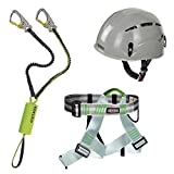 Alpidex Kletterhelm ARGALI + Alpidex Klettergurt TRAD TAIPAN green pepper + Edelrid Klettersteigset Cable Kit Lite 5.0, Farbe:pebble grey