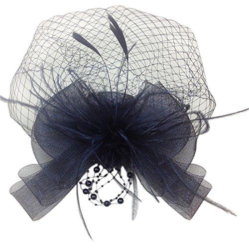 Course Maille Bow Voile Plume a La Main Headpiece Fascinateur Cheveux Clip Peigne Des Femmes Noir