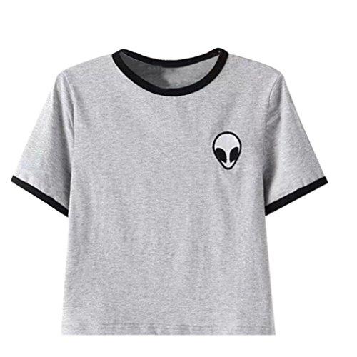 Sannysis Aliens stampa 3d raccolto T-shirt manica corta cime delle donne (grigio, S)