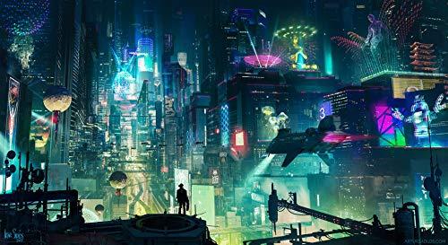 AniMax Cyber Punk 2077 Street City Personaggi Sences Veicolo Stampato su Tela, incorniciato ed Allungato, Decorazione per la casa, Soggiorno e Camera da Letto – Three, Serie 21