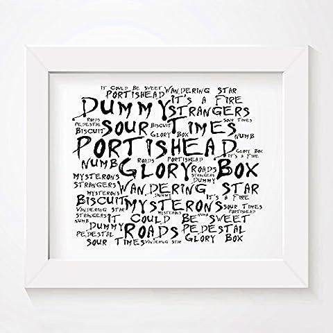 'Noir Paranoiac` Poster Affiche d'art - PORTISHEAD - Dummy - Edition signée et numérotée limitée typographie non encadré 20 x 25 cm la musique album mur art haute qualité d'impression - Song lyrics music poster