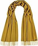 FRAAS Damen Schal aus Cashmink - Made in Germany - Web-Schal weicher als Kaschmir - stilvoller Fransen-Schal - Stola in Uni-Farben Limone
