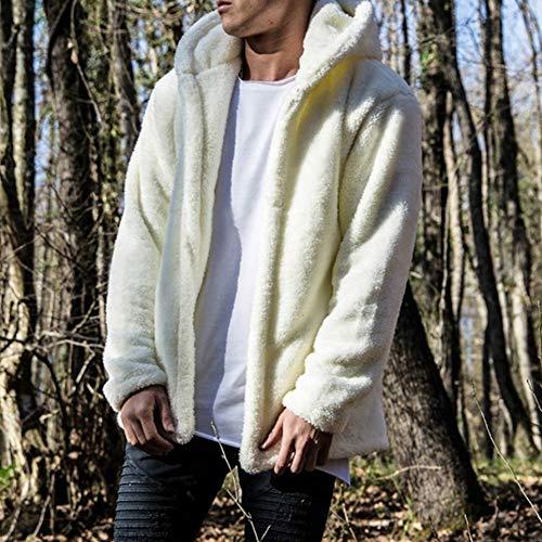 Preisvergleich Produktbild Warmer Winter Mode lässig Männer Normallack plus Samt mit Kapuze Jacke, White