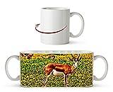 Antilope auf wundervoller Blumenwiese Effekt: Zeichnung als Motivetasse 300ml, aus Keramik weiß, wunderbar als Geschenkidee oder ihre neue Lieblingstasse.