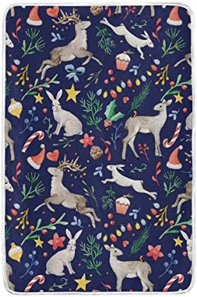 DOSHINE Twin Lapin Couverture, Noël, cerf Lapin Twin Candy Cane Doux léger Warmer couvertures 152,4 x 228,6 cm pour canapé lit Chaise de Bureau 75dc49