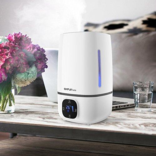 Simpletaste Humidificador ultrasónico de 4l, difusor de aroma, silencioso con pantalla LCD, 3 niveles de vapor, temporizador y luz LED de 7 colores