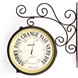Greenhurst Outdoor Garden Two in One Dual Sided Clock and Barometer in Rustic Antique Bronze Finish