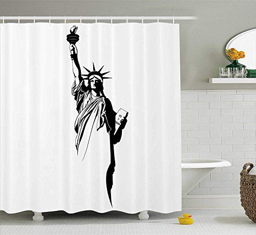 tgyew Modern Shower Curtain, The Statue of Liberty America USA Historical Landmark Freedom Icon Black and White, Fabric Bathroom Decor Set with Hooks, 66x72 inches, Black White
