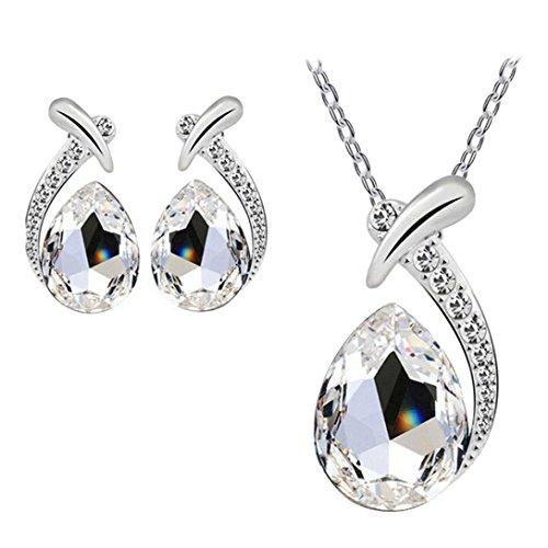 FAMILIZO Plata Cristal De Las Mujeres Plateado Pendiente De La Piedra Preciosa Brillante Cadena Sistema De La JoyeríA Del Collar Pendiente Del Perno