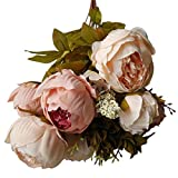 TAOtTAO 1 Bouquet Vintage Artificial Peony Silk Flowers Bouquet for Decoration (Beige)