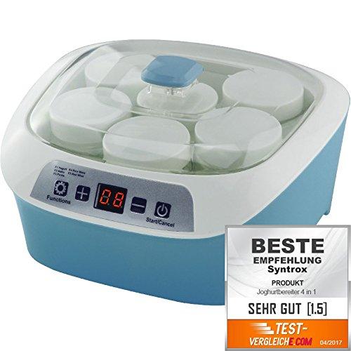 Syntrox Germany 4 in 1 Digitaler 1,2 Liter Käse,- Wein-, Quark- und Joghurtbereiter mit 6 Bechern