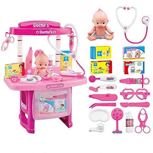 GUDEMN Medizinisches Spielzeug der Kinder Spielzeug der medizinischen Ausrüstung Medizinisches Tischpuppen-Stethoskopspielzeug der Simulation,Pink (Pink Up Spielen Dress)