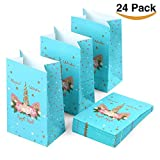 WAVEJOE 24 Unicorn Party Favor Bags Treat Gift Goody Bags for Kids Birthday, Baby Shower, Unicorn Party Ideas