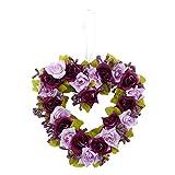 TOOGOO Heart Ghirlande a forma di ghirlanda di fiori artificiali a forma di ghirlanda con nastro di seta per decorazione di cerimonia nuziale (rosso porpora) 22x21x3.5cm