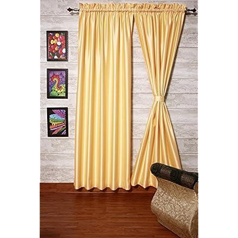 Crema cortinas satén de seda Dupioni sintética, elección de piezas, anchura y longitud elección con forros opacos por zappycart., 78