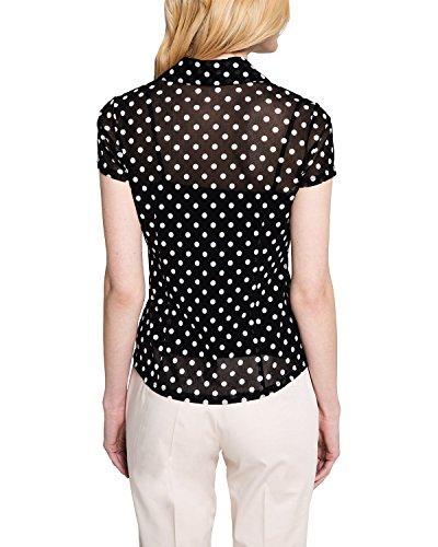 Comma Damen Bluse 85.899.32.0113 Grau (grey/black dots 99M2)