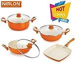 #7: Nirlon Ceramic Coated Non-Stick Aluminium Kitchenware Combo Cokking Set With Tempered Glass Lid | Bakelite Handle | Super Ceramic Cookware Set