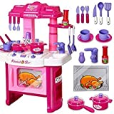 AKSH Dream House Kitchen Set Kids Luxury Battery Operated Kitchen Super Set Toy With Light And Sound Carry Case (Kitchen 40 PC)