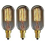 KJLARS 3 X Vintage Edison Glühlampe E14 40W T45 Glühbirne gerade Draht kleine Schraub Retro Bulb Antik Leuchtmittel
