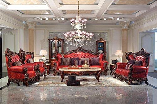 Ma Xiaoying Collection 7pc Set: Sofa, Liebesschaukel und Stuhl und 2small Tische und 1long. Echtes Leder, Rahmen aus massivem Holz Und von Hand geschnitzt (2chairs + Fach Tisch), 2Chairs+2Small tables+Loveseat+Sofa+Long table