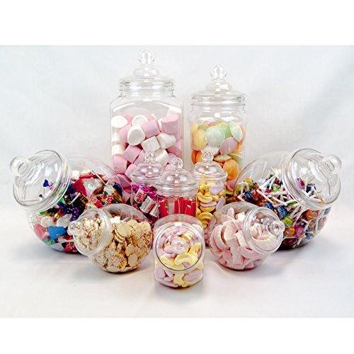 sweets desire Recipiente de plástico Parte Pack-10Assorted Jars-Fast Entrega por Dulces Deseo