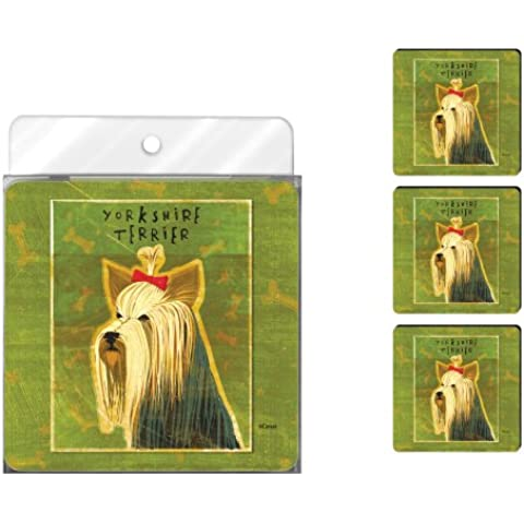 Tree-Free Greetings NC37993 John W. Golden Artful Coaster Set, Yorkshire Terrier by Tree-Free (Yorkshire Terrier Coaster)