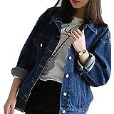 Mode Beiläufig Damen Mantel Jacke Denim Jacket Trench Parka Jacken Einfarbig Lange Ärmel Jeans-Jacke mit Patches (XXL, Blau1)