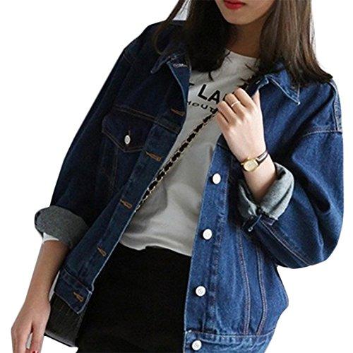 Mode Beiläufig Damen Mantel Jacke Denim Jacket Trench Parka Jacken Einfarbig Lange Ärmel Jeans-Jacke mit Patches (L, Blau1) Lange Ärmel Denim Jacke