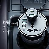 AUKEY inverter da 200 W, da DC 12V a AC 230V inverter per auto con presa CA, presa da 12 V e due porte USB, per automobili, barche e camper