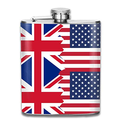 Britische USA-Flaggen-Prämie 304 Edelstahl-Flachmann-Flaschenhalter Groomsman Flask Großes Geschenk, 7 Unze