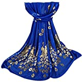 Women Scarves, Rcool Women Printed Gilded Peacock Soft Muffler Wrap Scarf Chiffon Scarf Shawl Stoles (Dark Blue)