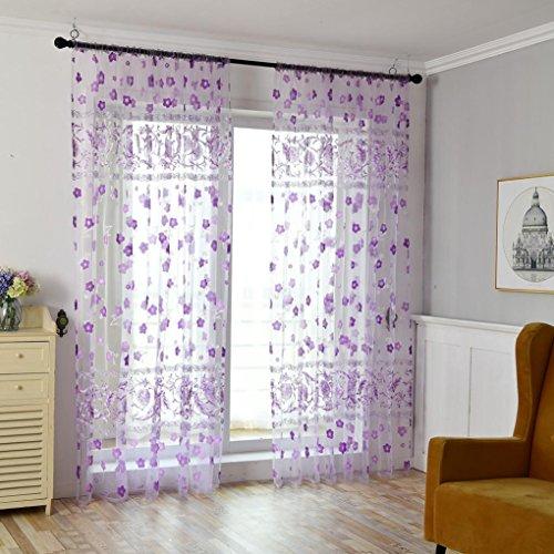 Vorhang, Vorhang Ring Schal transparent Vorhang Gefärbt Tüll Vorhang Tüll Hochzeit Divider Panel Room Decor Moginp (D) -