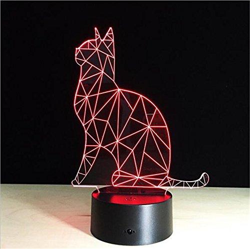 Kreative 3D Illusion Lampe LED-Nachtlicht 3D-abstrakte Grafiken Acryl lamparas Atmosphäre Lampe Neuheit Beleuchtung Home verzieren, Katze -