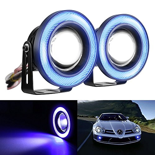 Lzcat 2 stücke High Power 2,5 zoll Projektor Universal LED Nebel Licht Blau COB Halo Angel Eye Ringe - Für Autos Halo-licht