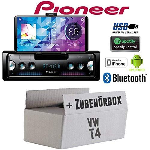 Autoradio Radio Pioneer SPH-10BT - Smartphone Empfänger mit Bluetooth | Spotify | Android | iPhone | 4x50Watt Einbauzubehör - Einbauset für VW Bus T4 - JUST SOUND best choice for caraudio - Caraudio-empfänger