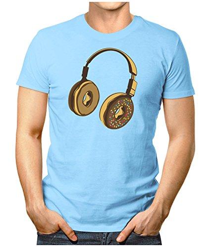 PRILANO Herren Fun T-Shirt - HEADPHONE-DONUT - Small bis 5XL - NEU Hellblau