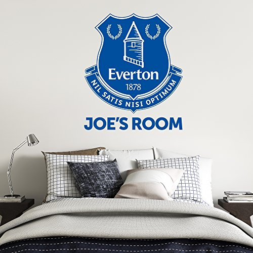 Beautiful Game Everton Football Club Official Crest & Personalised Name Wall Mural Sticker + Everton FC Decal Set Vinyl Poster Print Mural (120cm)